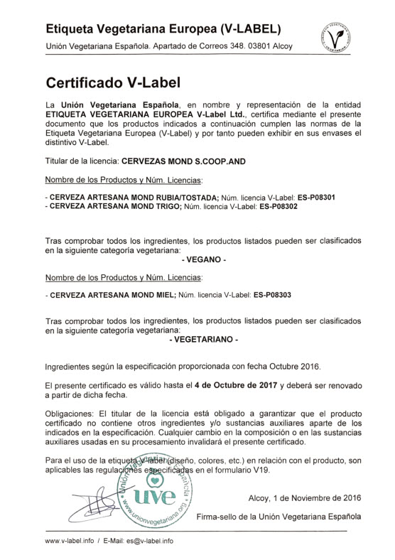 Certificado V-Label