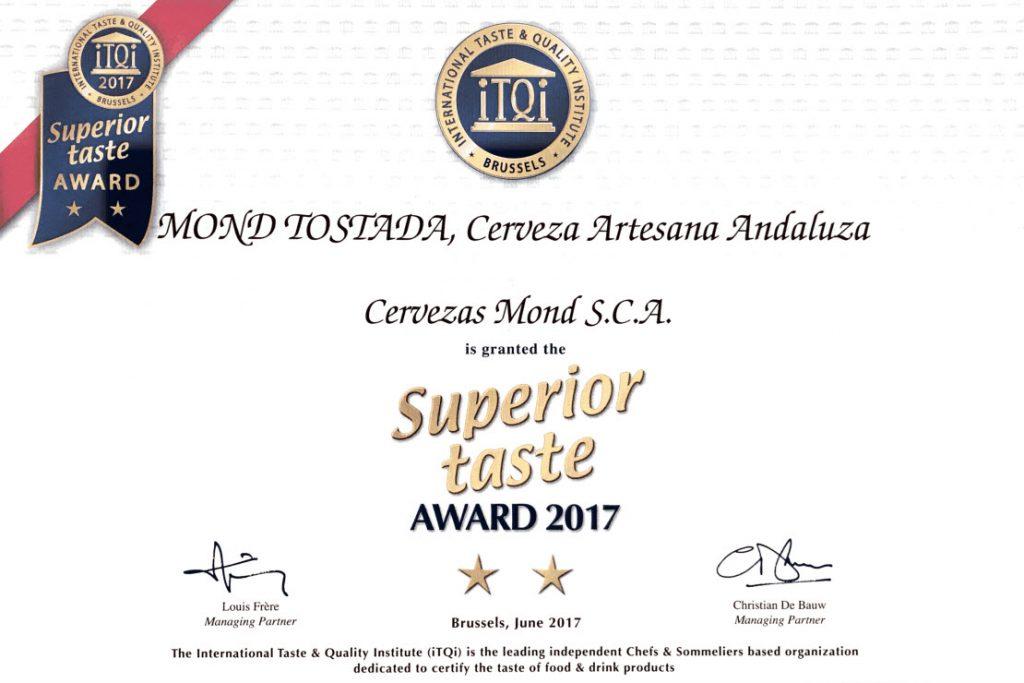 Certificado iTQi 'Superior Taste 2017'