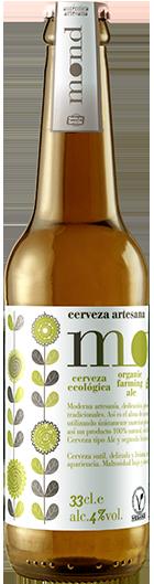 Cerveza artesana MOND Ecologica elaborada en Sevilla con el sello de garantia de la Union Europea y el certificado de calidad CAAE