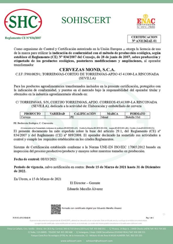 Certificado ECO-UE