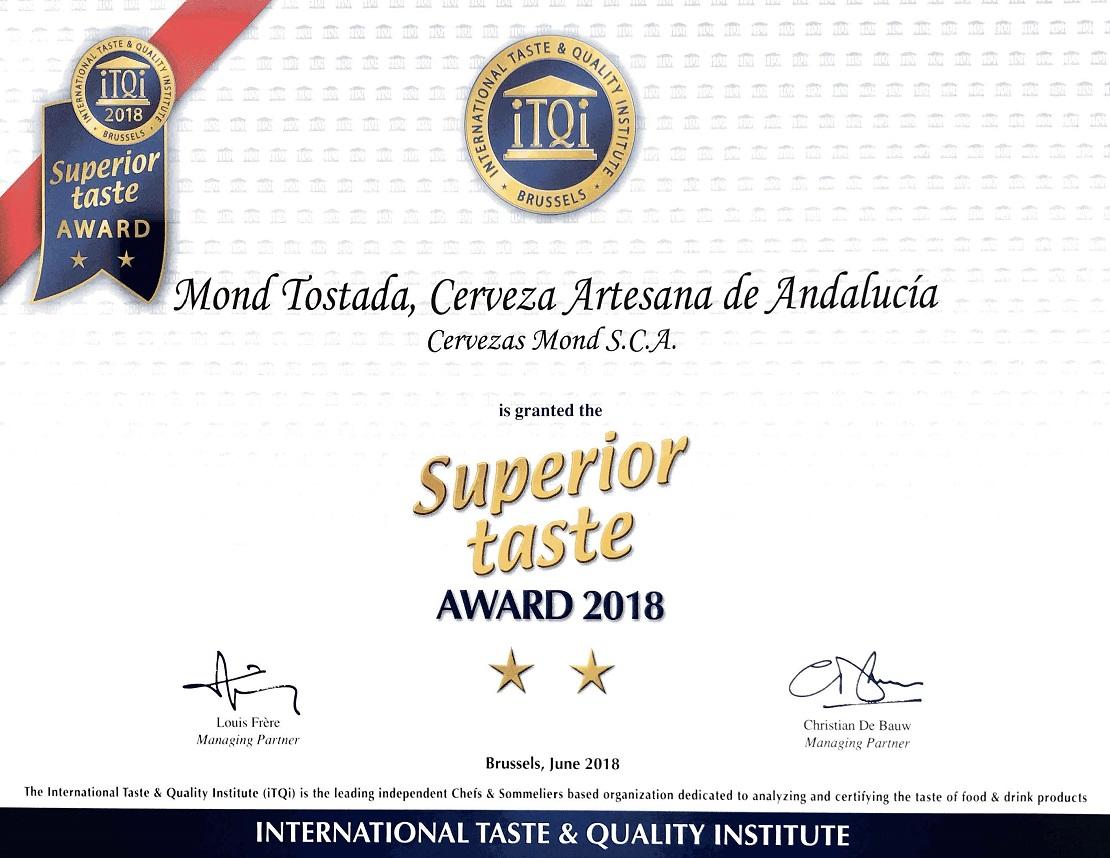 Certificado iTQi 'Superior Taste 2018'